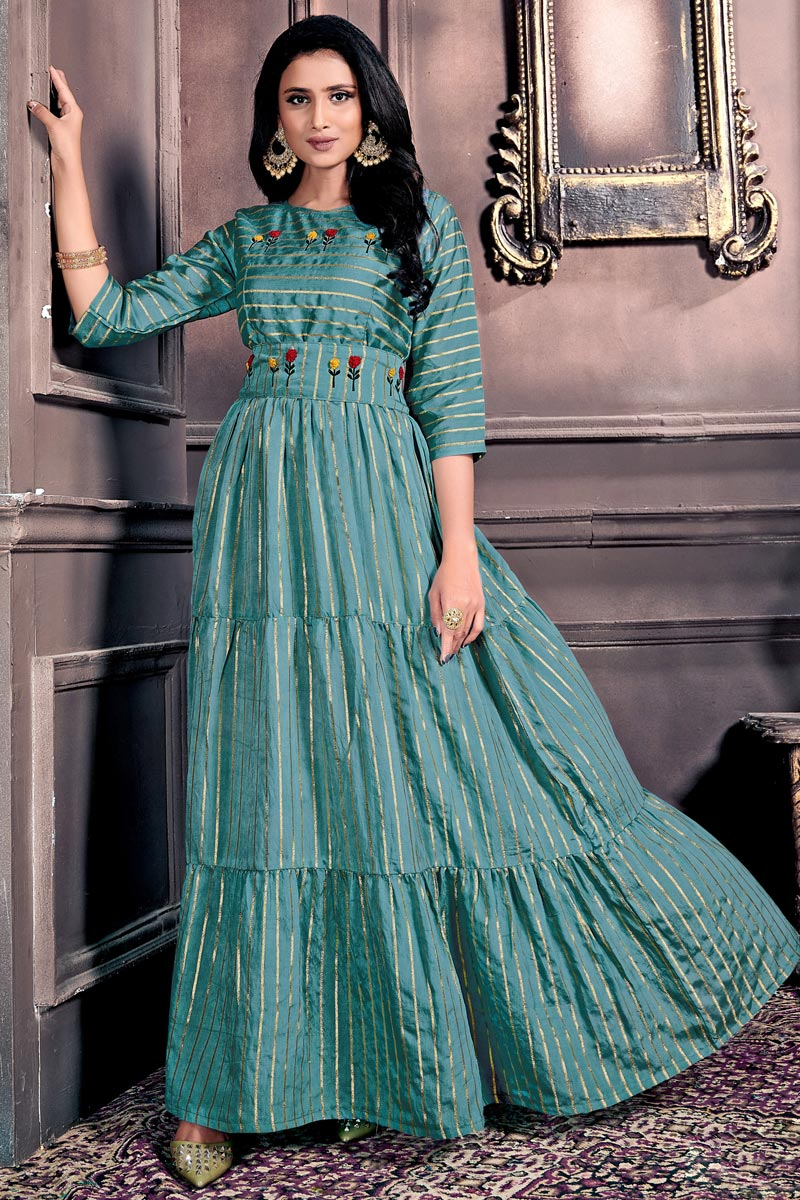 Cyan Color Chanderi Fabric Festive Wear Designer Gown Style Kurti