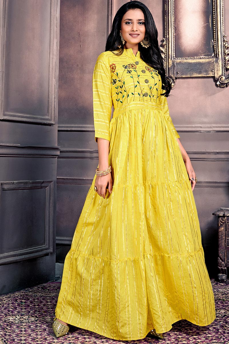 Festive Wear Designer Yellow Color Gown Style Kurti In Chanderi Fabric