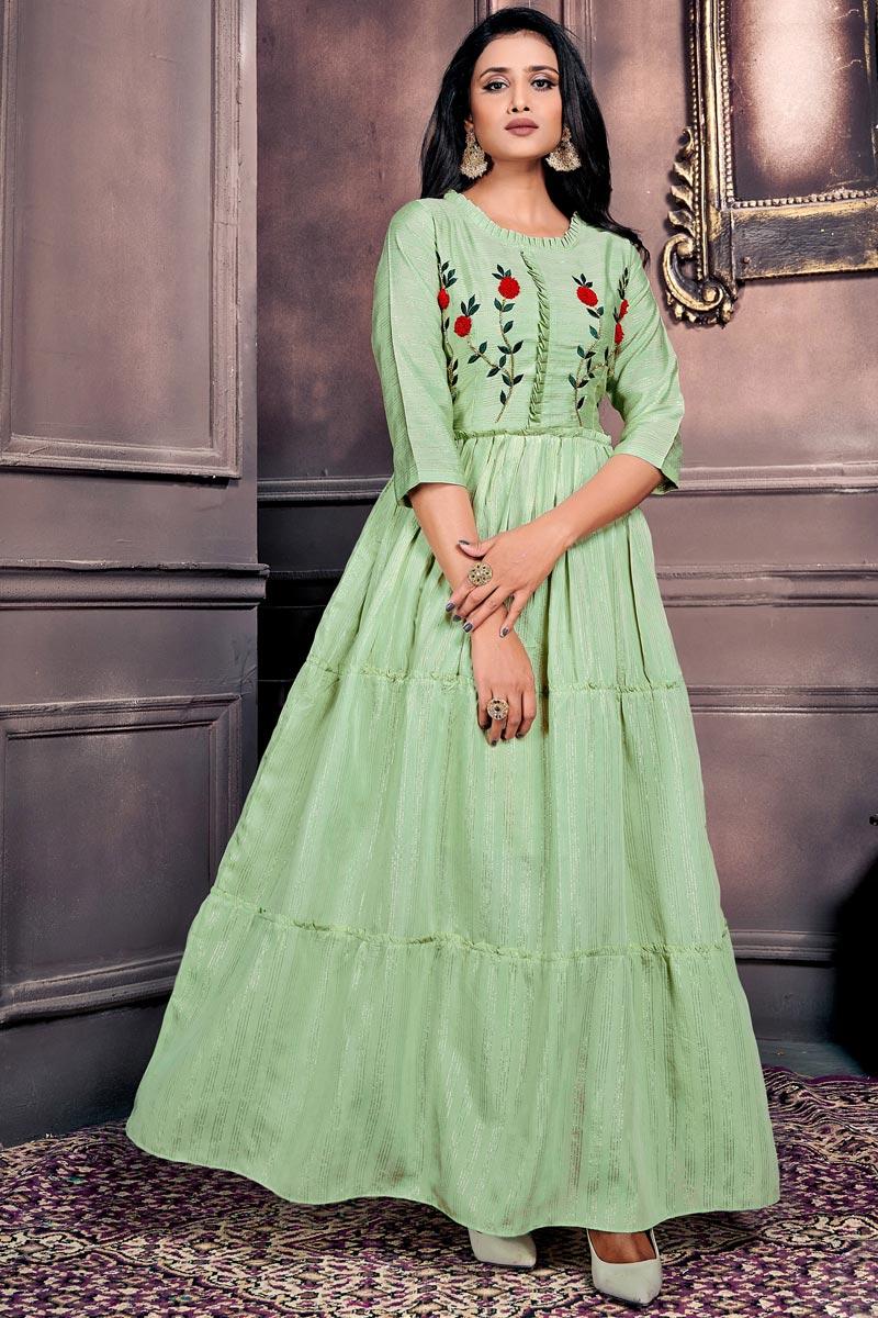 Festive Wear Chanderi Fabric Designer Gown Style Sea Green Color Kurti