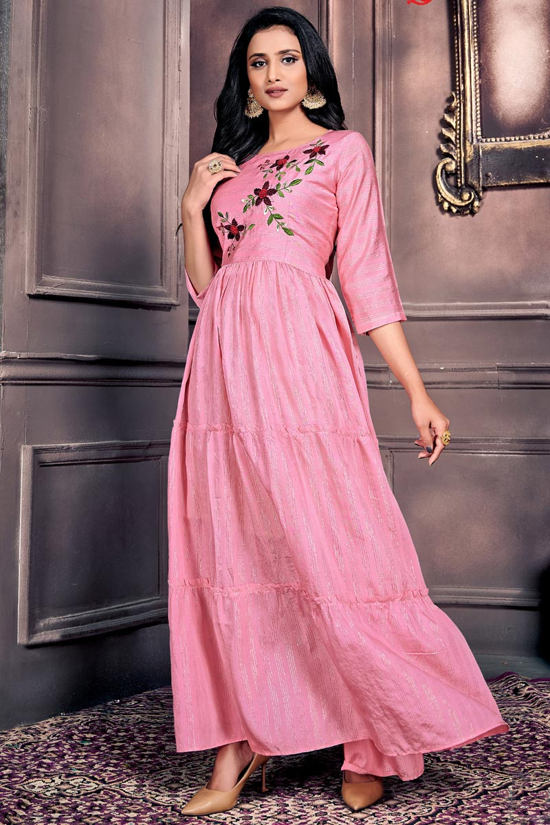 Festive Wear Designer Chanderi Fabric Gown Style Kurti In Pink Color
