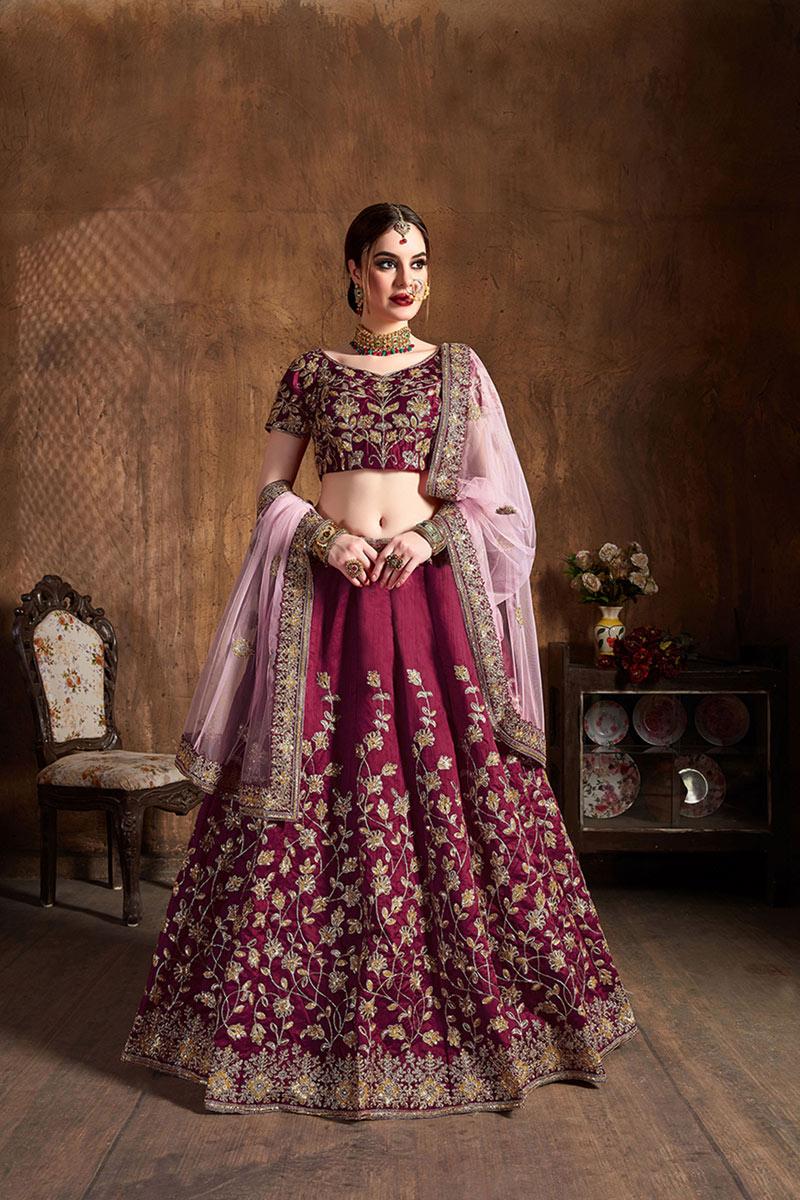 Art Silk Fabric Wedding Wear 3 Piece Lehenga