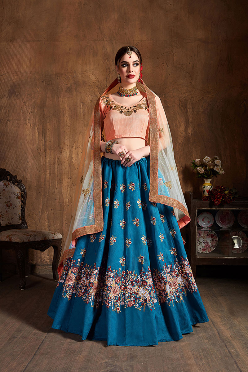 Art Silk Fabric Sky Blue Color Wedding Wear 3 Piece Lehenga Choli