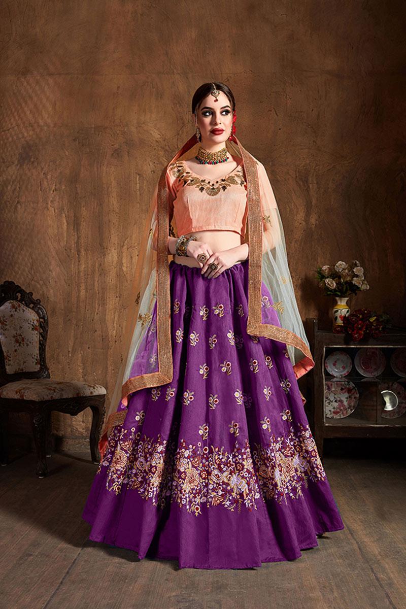 Purple Color Designer Wedding Lehenga