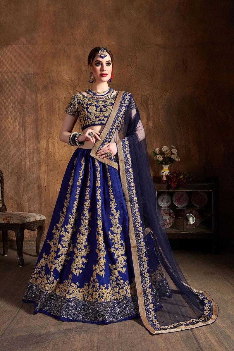 Blue Color Art Silk Fabric Reception Wear Lehenga Choli