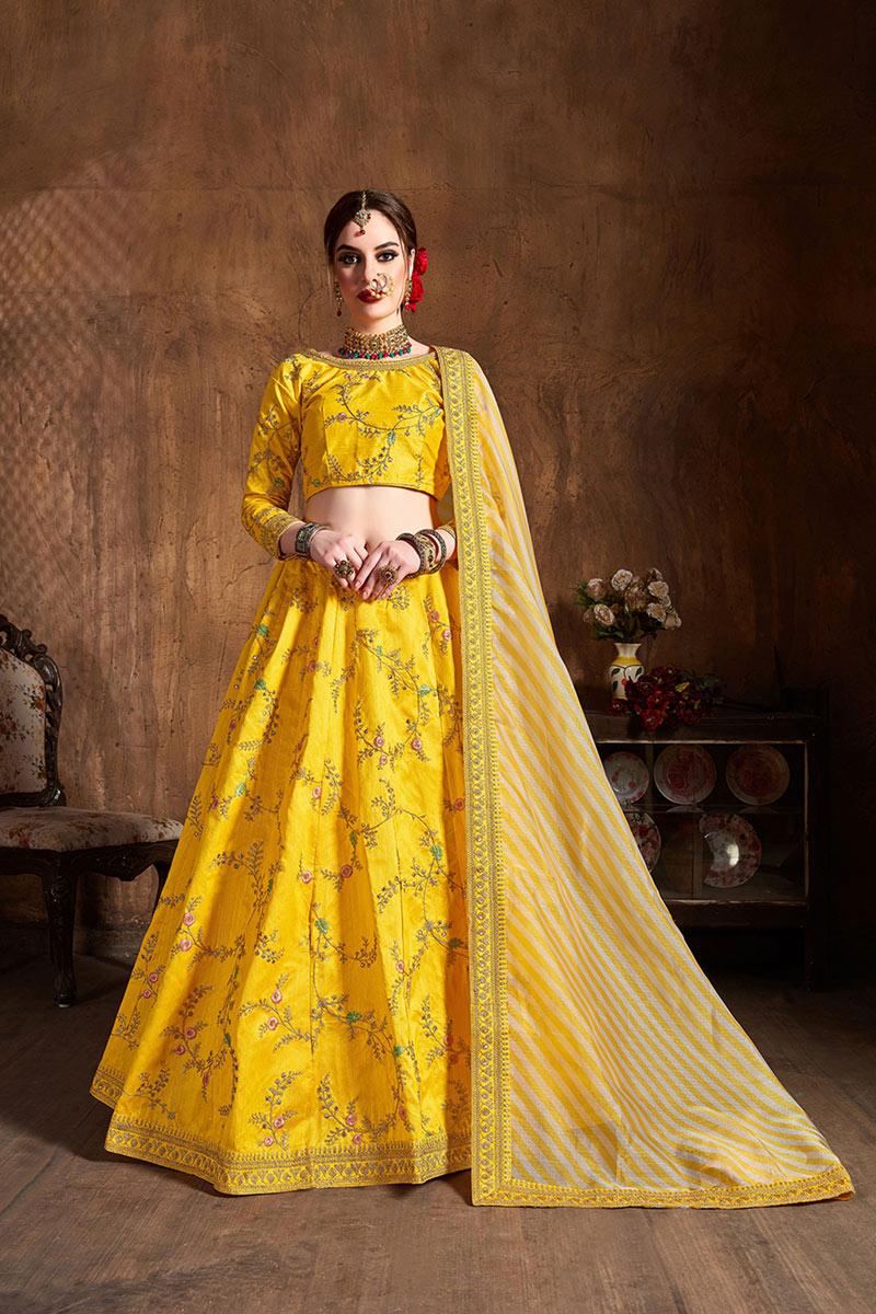 Yellow Color Embroidery Work Sangeet Wear Lehenga Choli