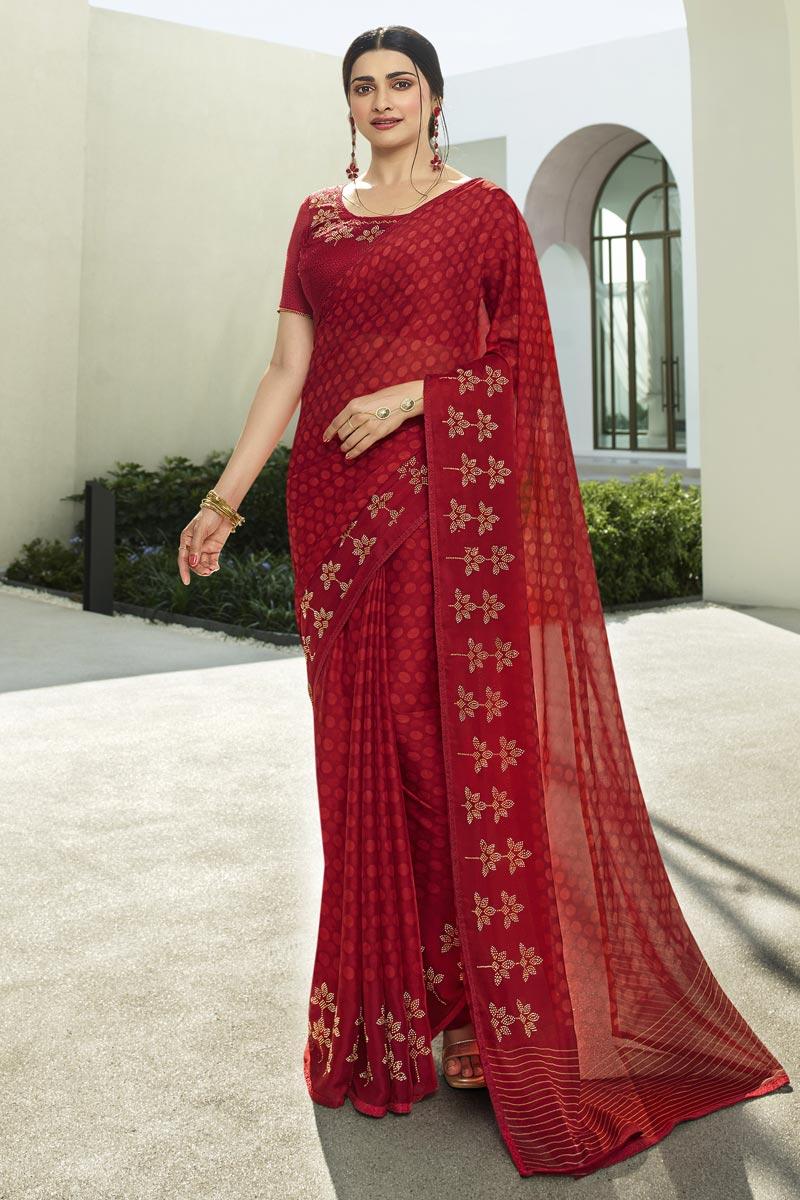 Prachi Desai Red Color Casual Wear Fancy Fabric Printed Saree