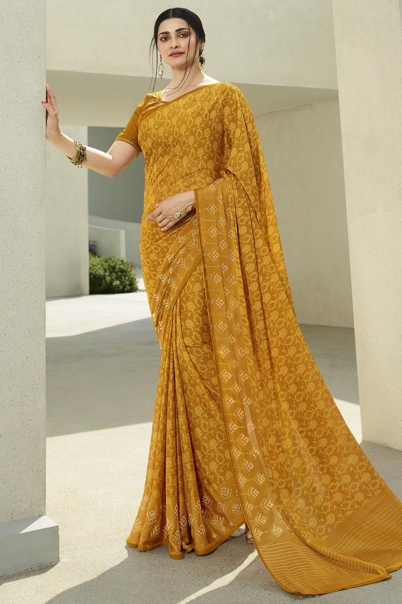 Prachi Desai Printed Fancy Fabric Casual Wear Saree In Yellow Color
