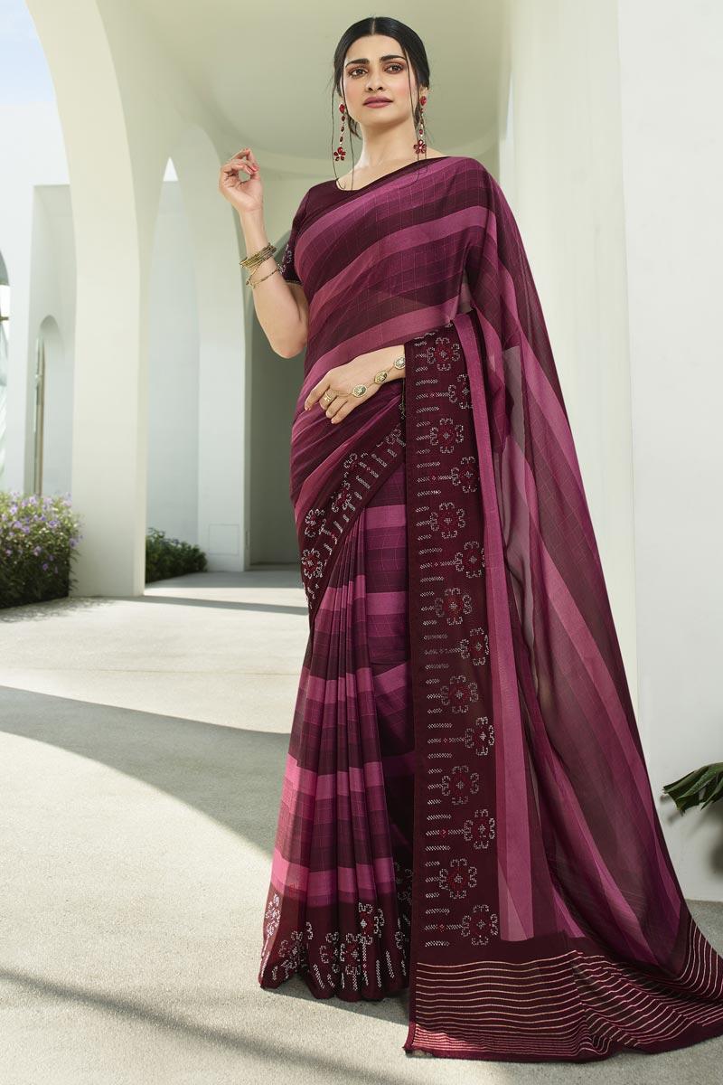 Prachi Desai Fancy Fabric Wine Color Casual Wear Printed Saree