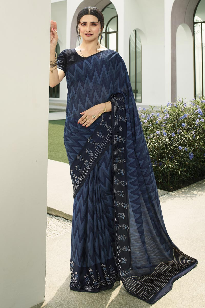 Prachi Desai Navy Blue Color Casual Wear Printed Saree In Fancy Fabric