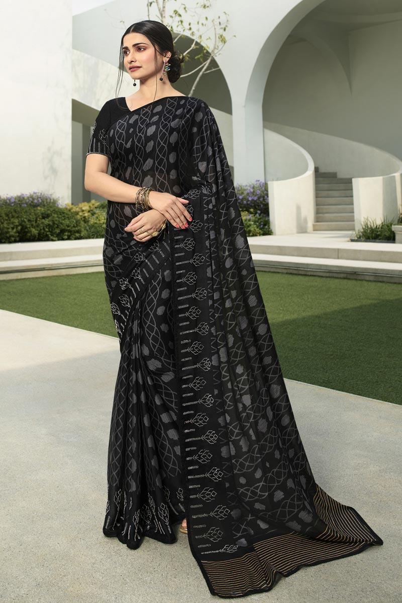 Prachi Desai Fancy Fabric Casual Wear Black Color Printed Saree