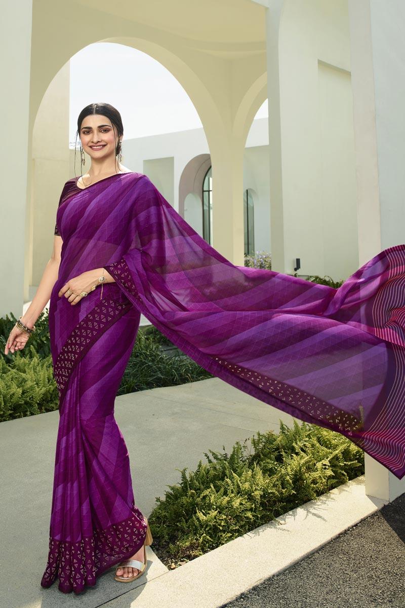 Prachi Desai Fancy Fabric Casual Wear Printed Purple Color Saree
