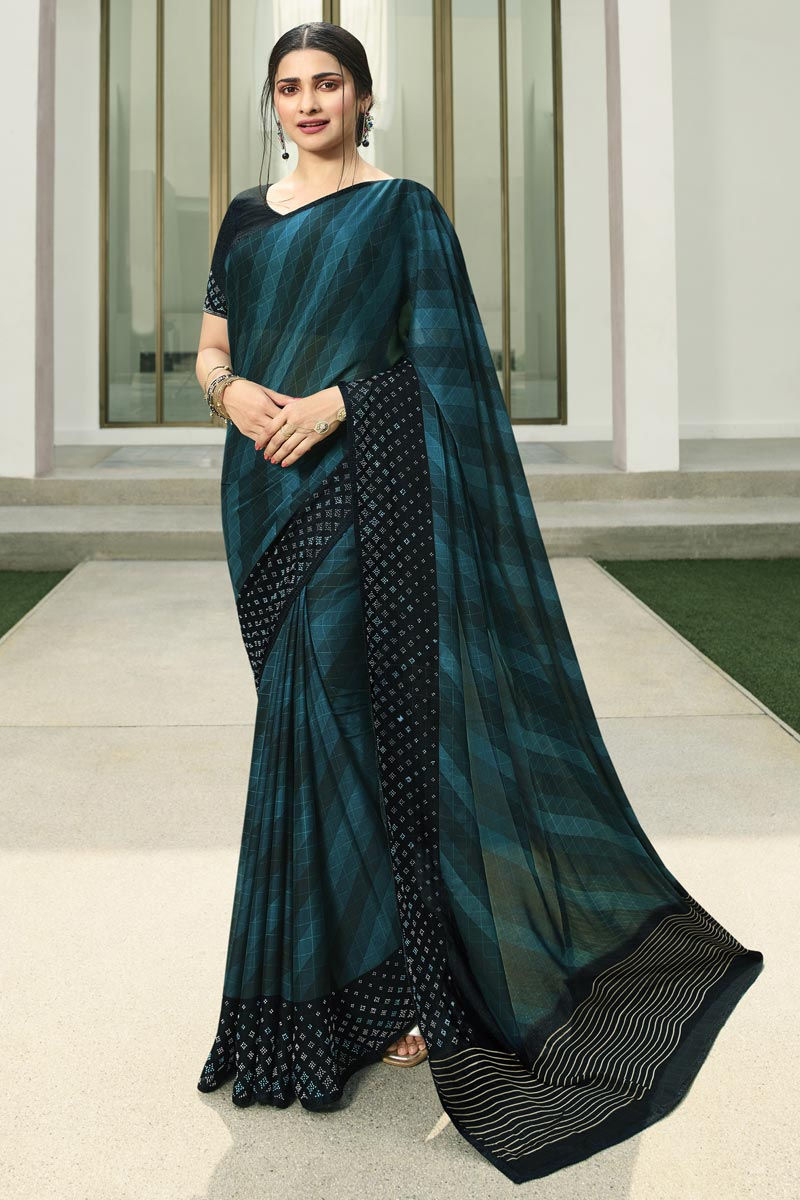 Prachi Desai Printed Teal Color Casual Wear Saree In Fancy Fabric