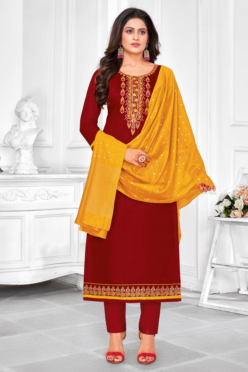 Maroon Color Cotton Fabric Embroidered Daily Wear Fancy Salwar Kameez