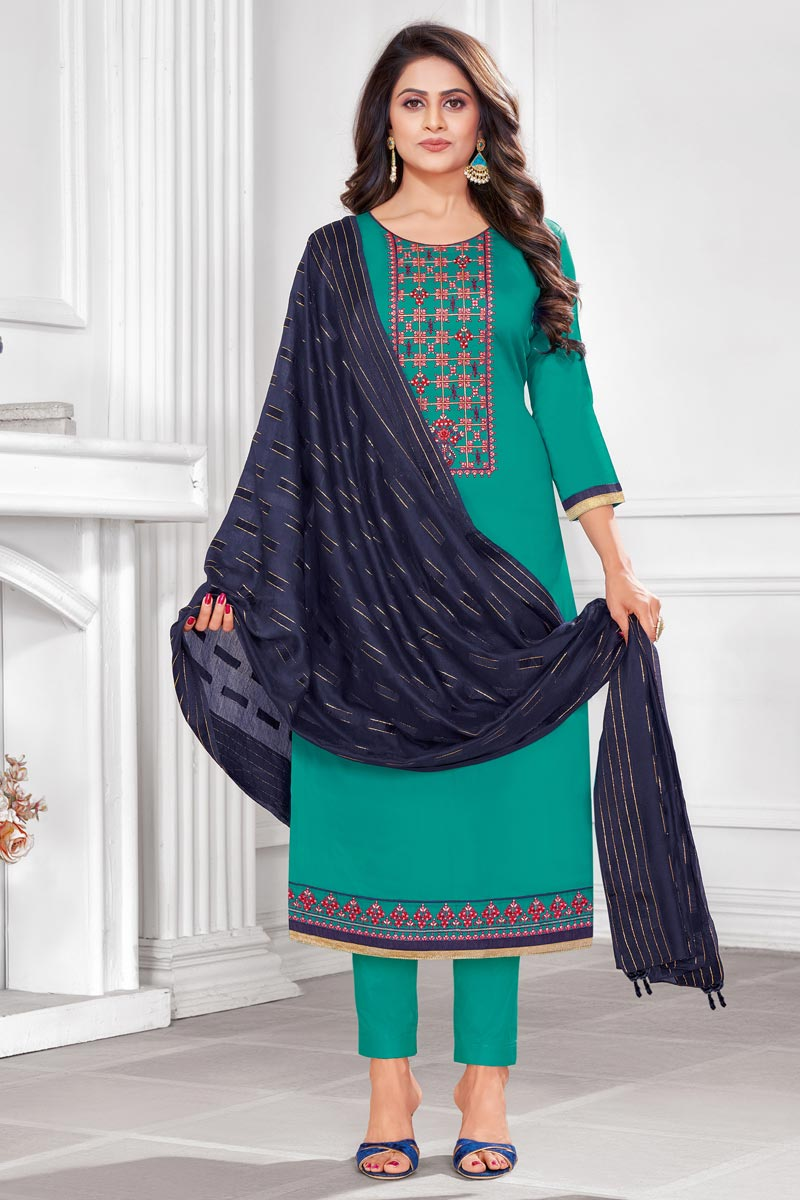 Cotton Fabric Cyan Color Embroidered Casual Wear Trendy Salwar Suit