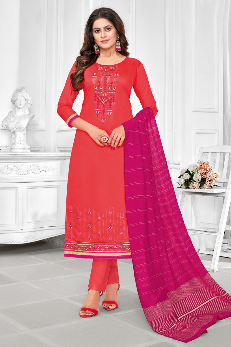 Embroidered Peach Color Cotton Fabric Office Wear Salwar Kameez