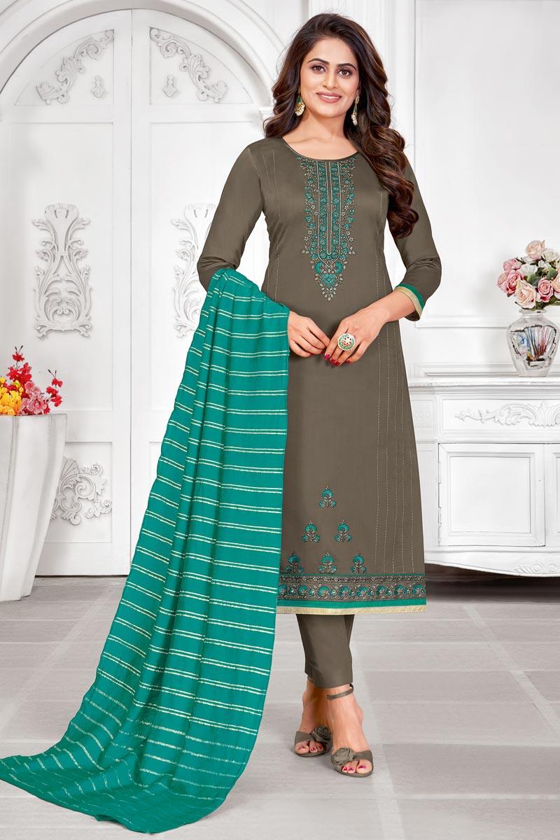 Cotton Fabric Embroidered Daily Wear Fancy Salwar Kameez In Dark Beige Color