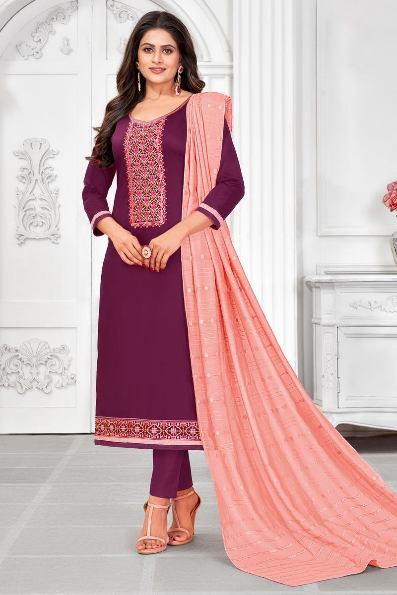 Purple Color Embroidered Casual Wear Trendy Salwar Suit In Cotton Fabric