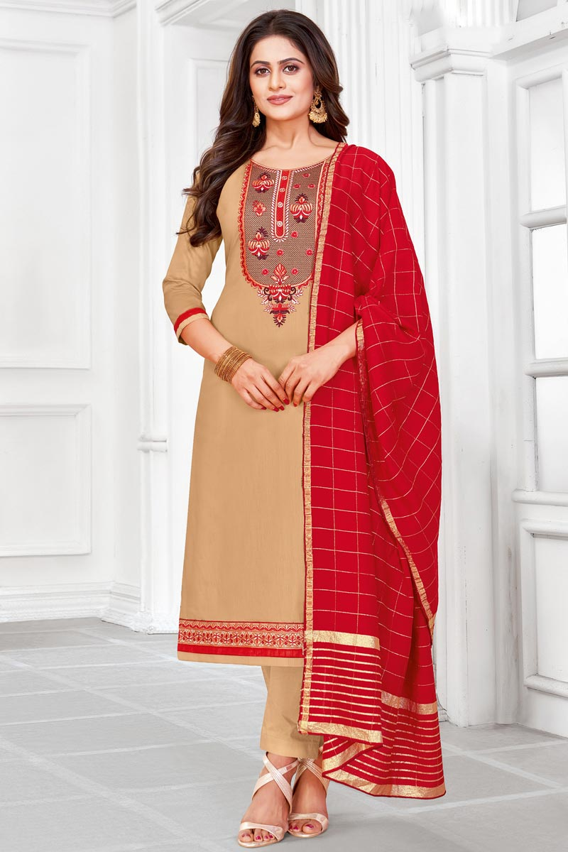 Embroidered Office Wear Salwar Kameez In Cream Color Cotton Fabric
