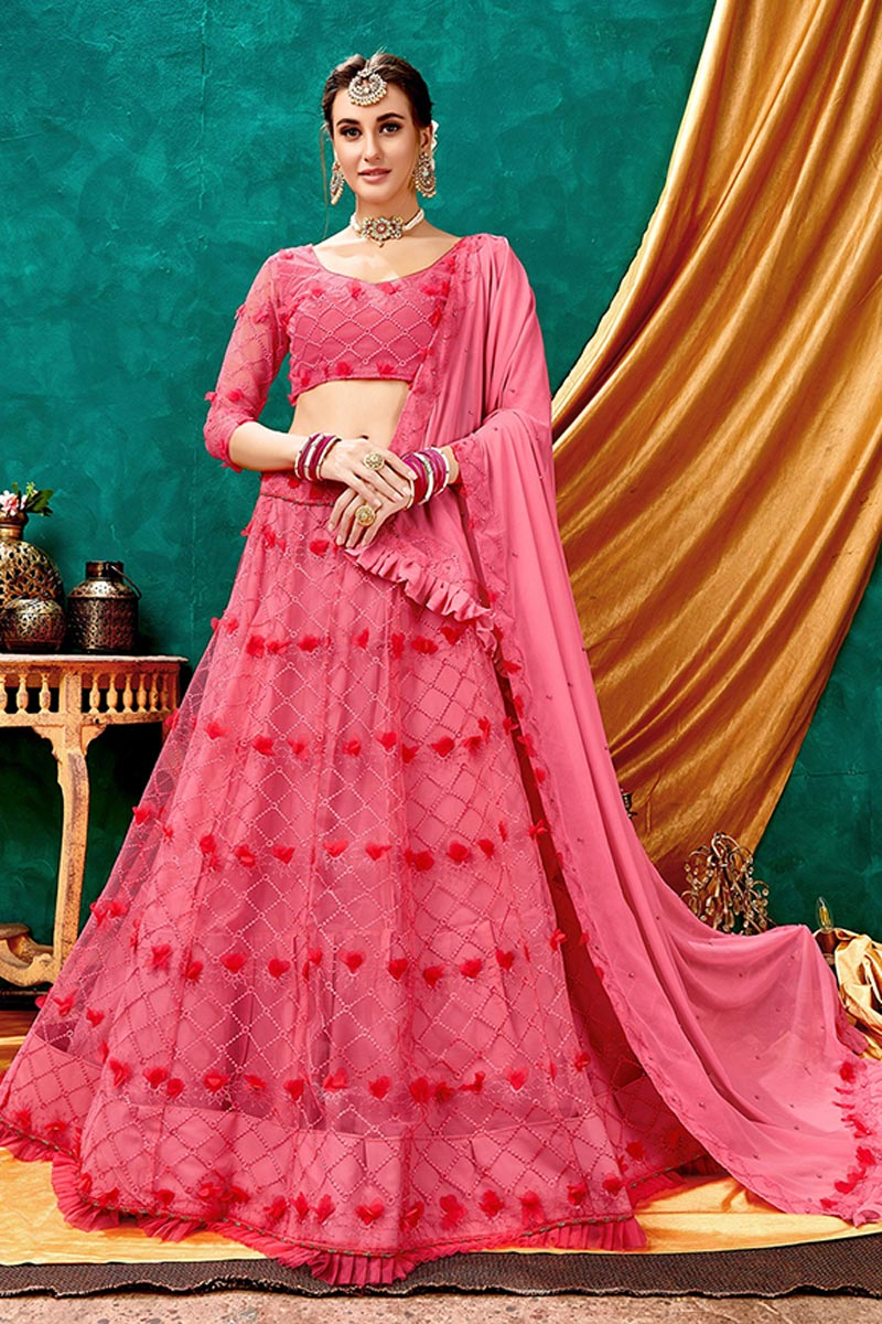 Embroidered Wedding Wear Lehenga Choli In Pink Color Net Fabric