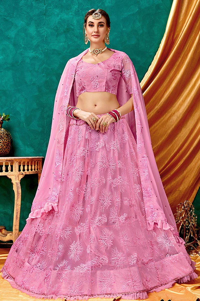 Eid Special Net Fabric Sangeet Wear Lehenga With Embroidery Work In Pink Color