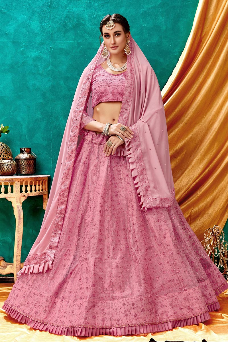 Eid Special Net Fabric Pink Color Wedding Wear 3 Piece Lehenga Choli With Embroidery Work