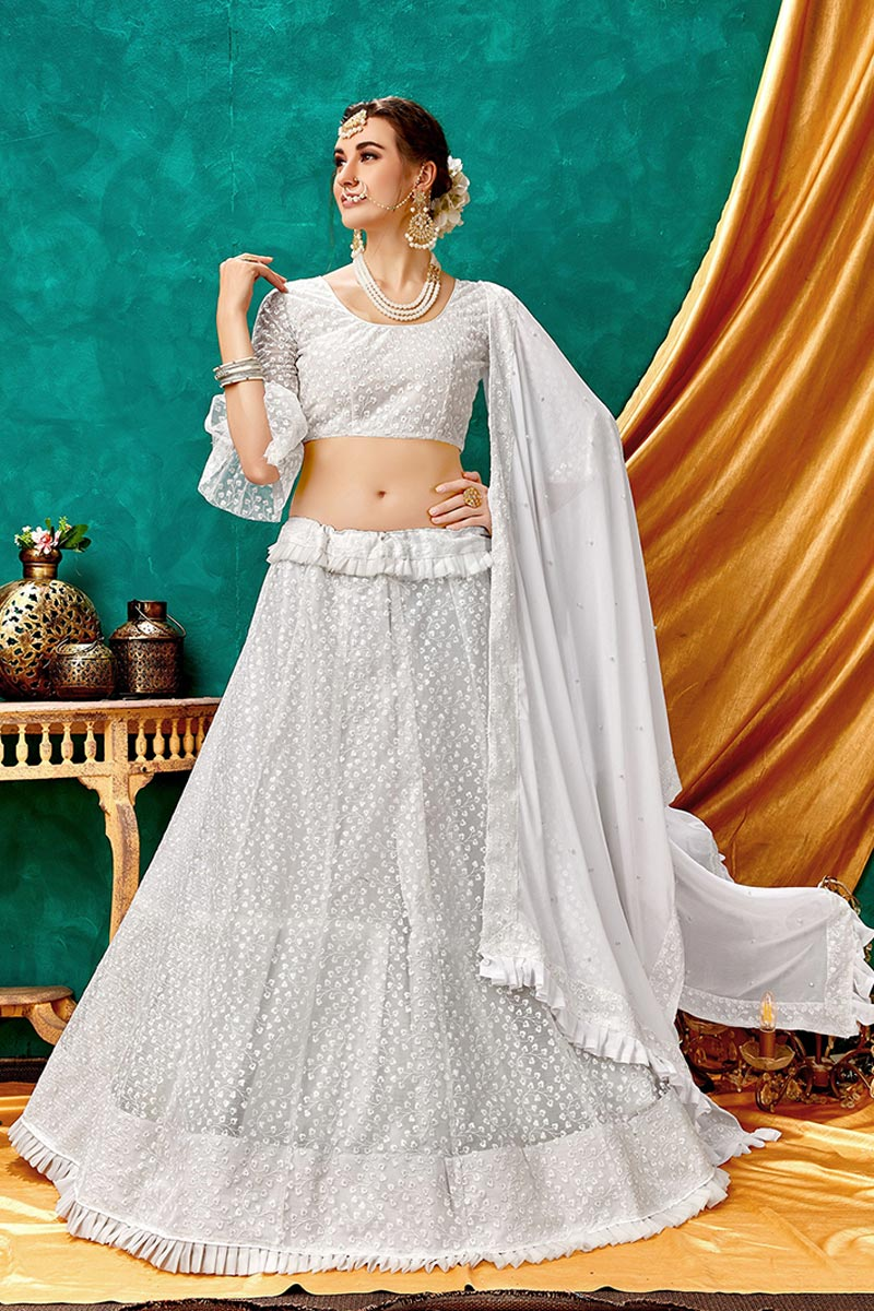 Eid Special White Color Designer Function Wear Lehenga With Embroidery Work On Net Fabric