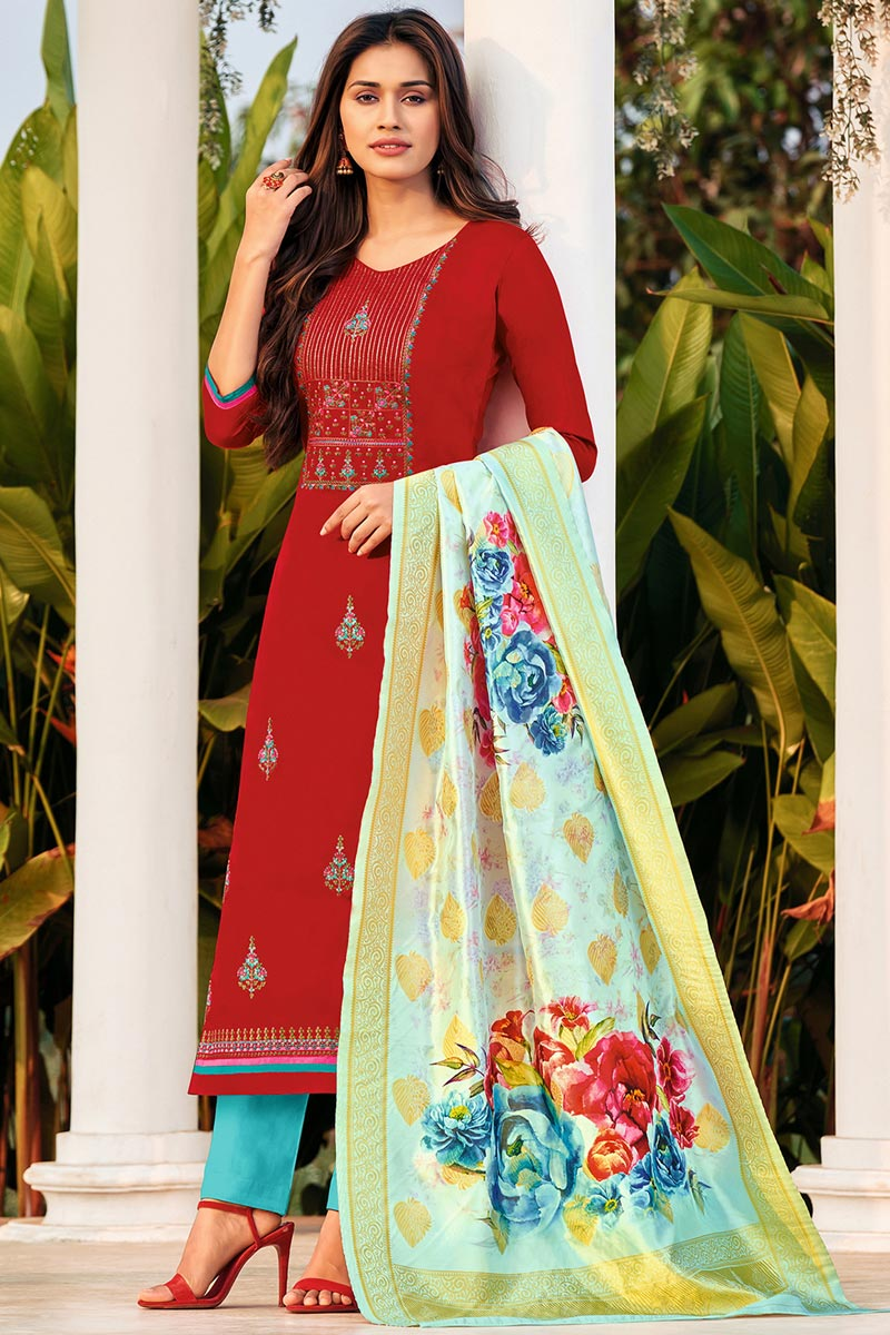 Embroidered Red Color Cotton Fabric Office Wear Salwar Kameez