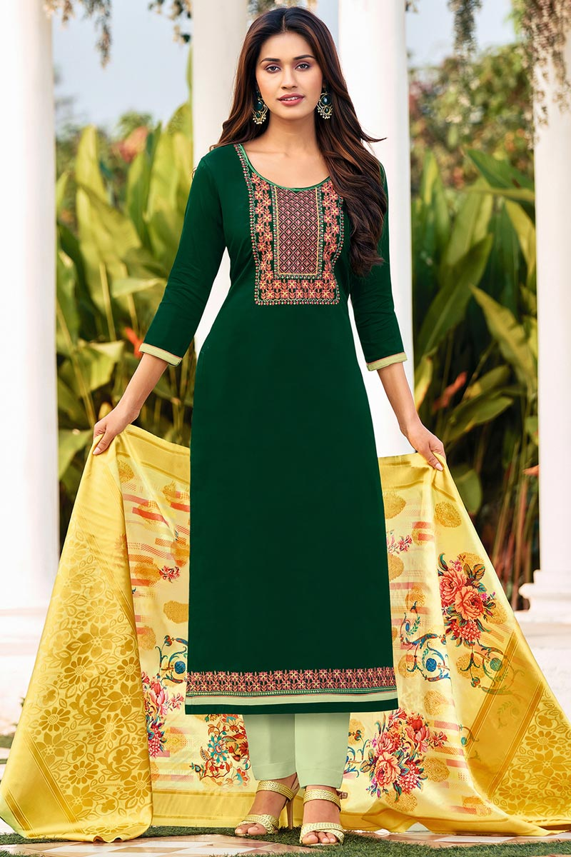 Cotton Fabric Green Color Embroidered Casual Wear Trendy Salwar Suit