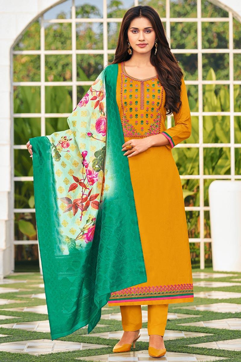 Embroidered Mustard Color Cotton Fabric Office Wear Salwar Kameez