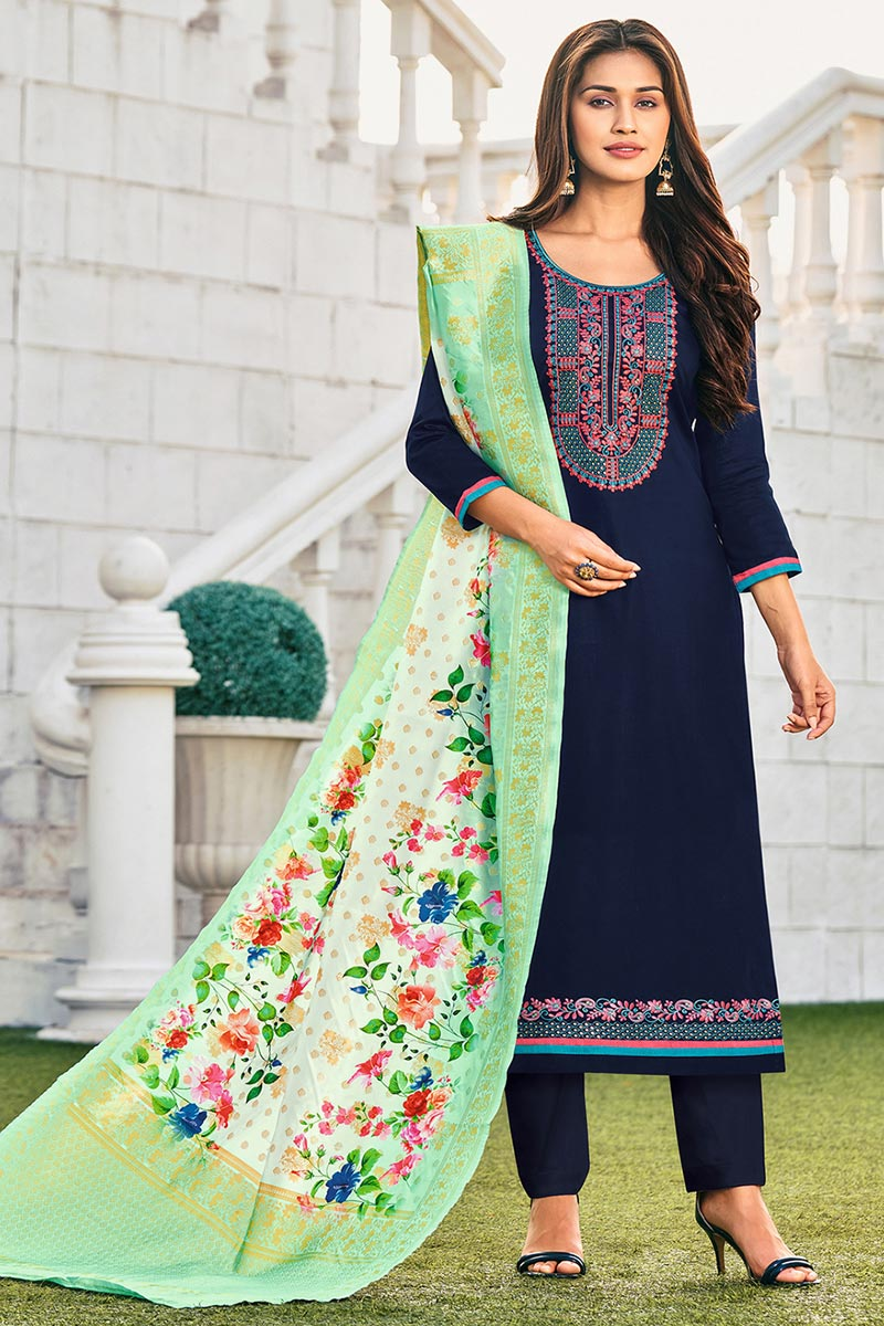 Cotton Fabric Embroidered Daily Wear Fancy Salwar Kameez In Navy Blue Color
