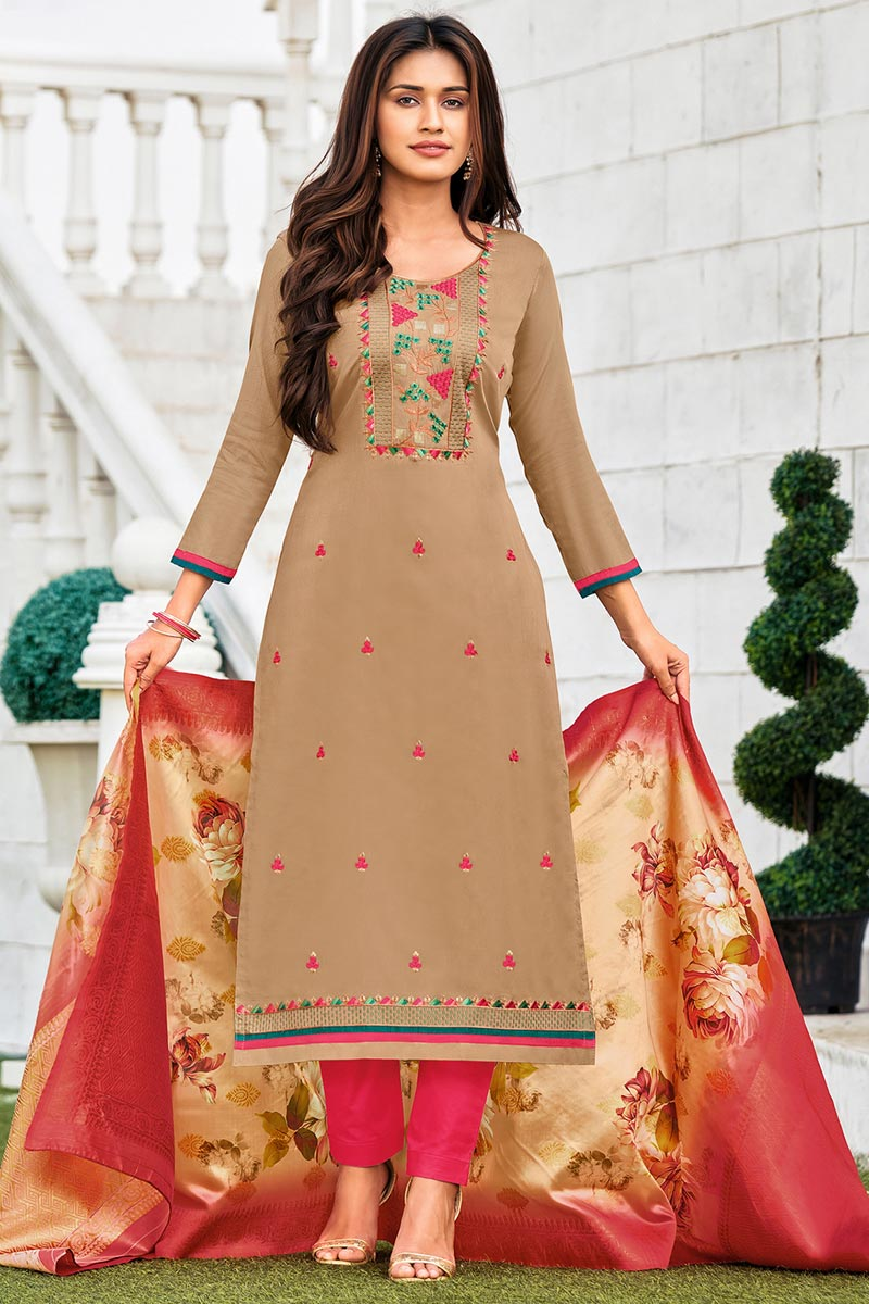 Chikoo Color Embroidered Casual Wear Trendy Salwar Suit In Cotton Fabric
