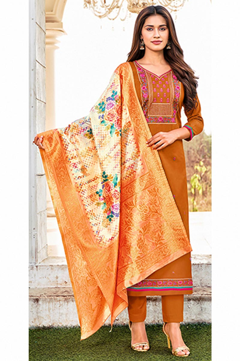 Rust Color Cotton Fabric Embroidered Daily Wear Fancy Salwar Kameez