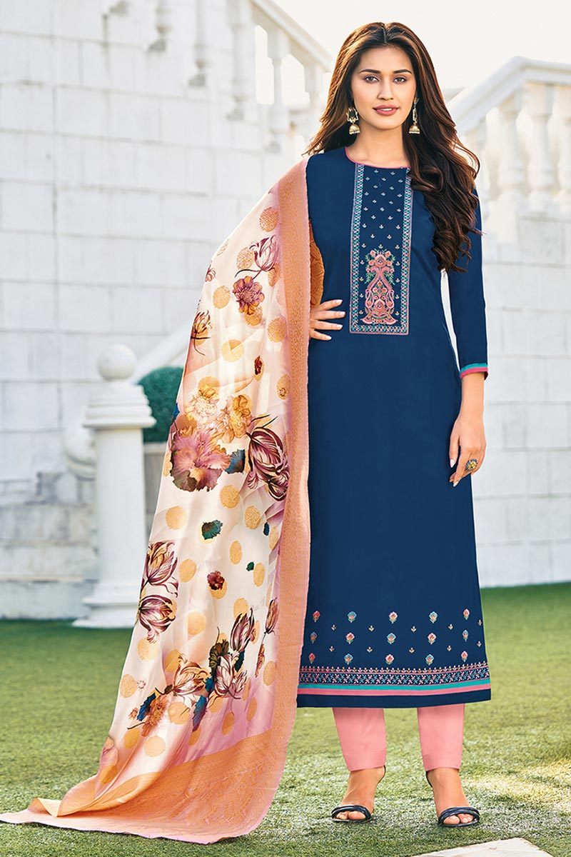 Cotton Fabric Blue Color Embroidered Casual Wear Trendy Salwar Suit