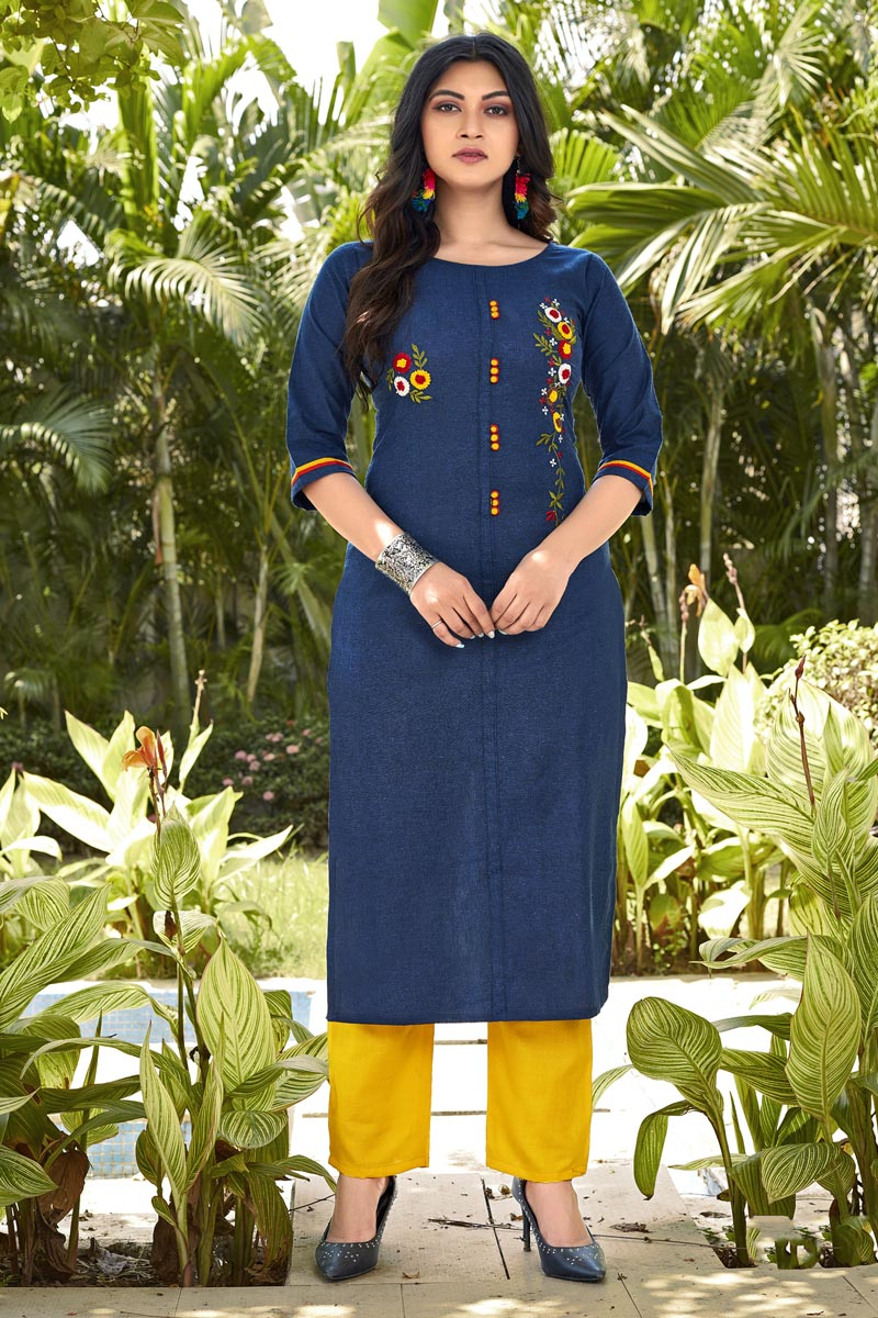 Casual Wear Fancy Blue Embroidered Kurti With Bottom In Cotton Fabric