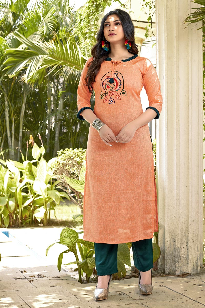 Cotton Fabric Casual Wear Fancy Peach Embroidered Kurti With Bottom