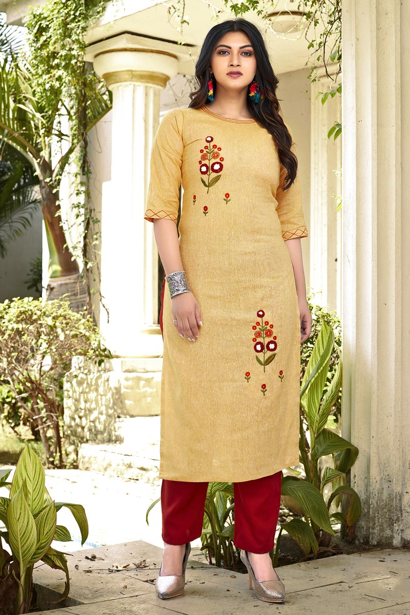 Fancy Yellow Casual Wear Embroidered Kurti With Bottom In Cotton Fabric