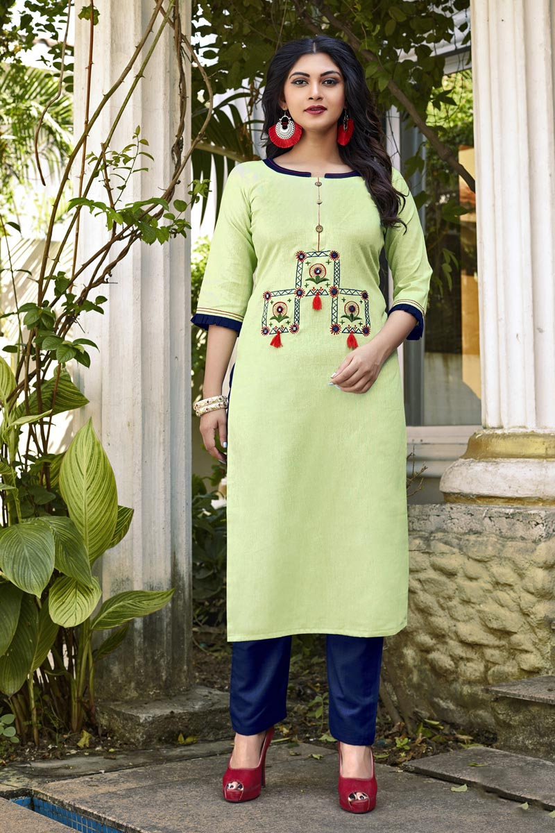 Cotton Fabric Casual Wear Fancy Sea Green Embroidered Kurti With Bottom