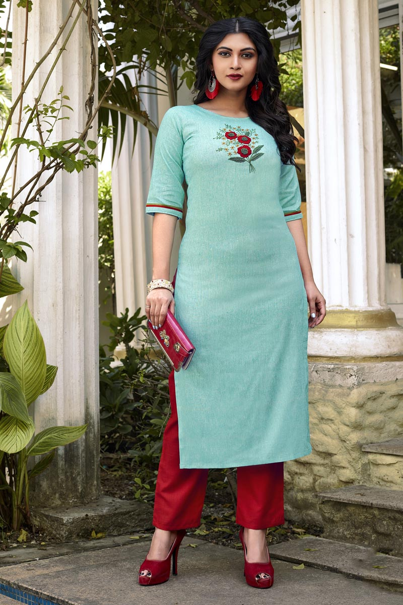 Cyan Casual Wear Cotton Fabric Fancy Embroidered Kurti With Bottom