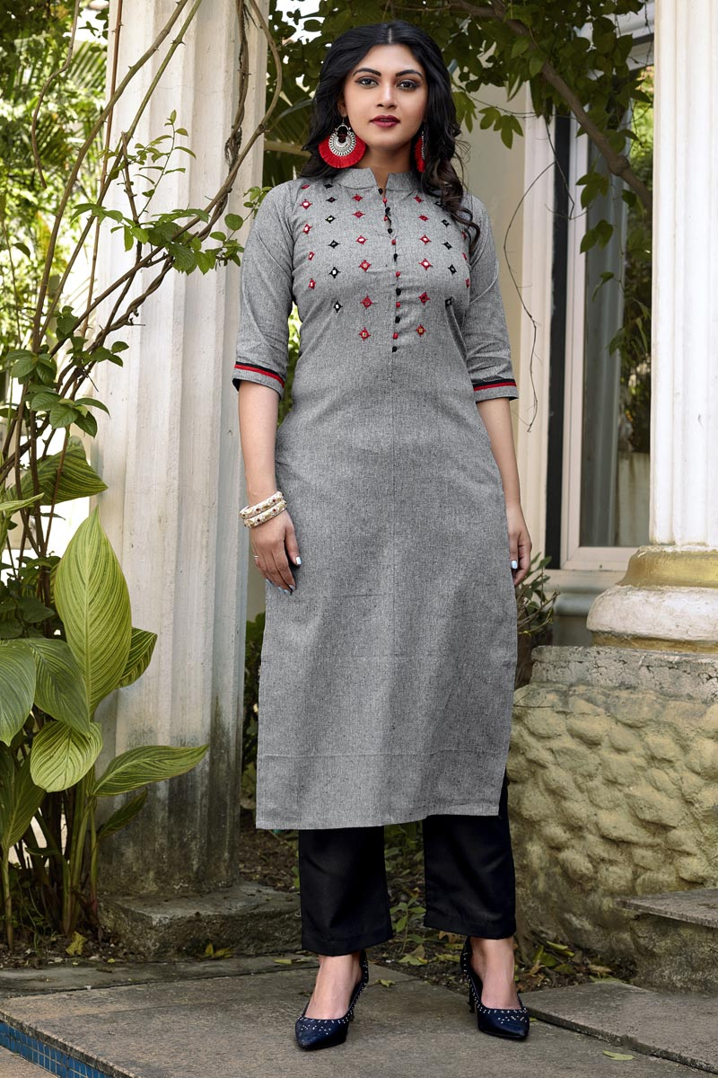 Fancy Casual Wear Grey Cotton Fabric Embroidered Kurti With Bottom
