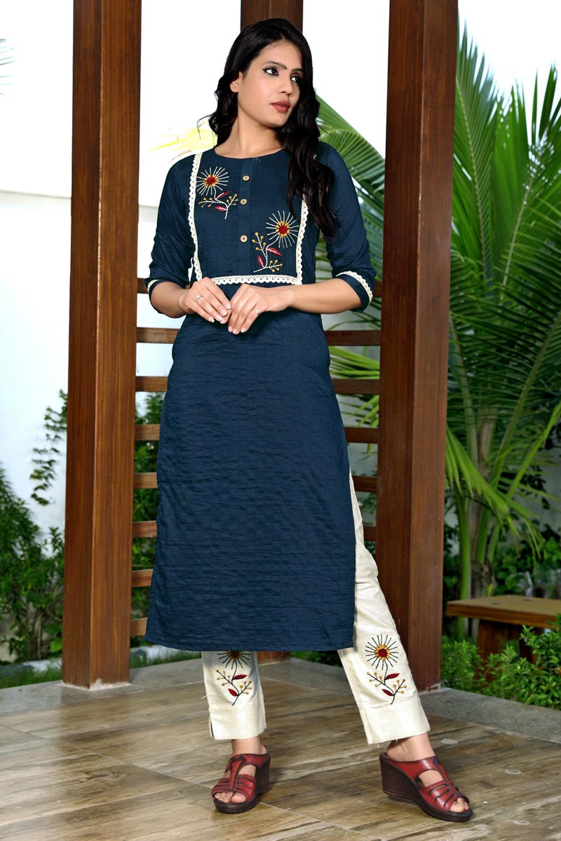 Fancy Navy Blue Color Festive Wear Embroidered Kurti With Pant In Art Silk Fabric