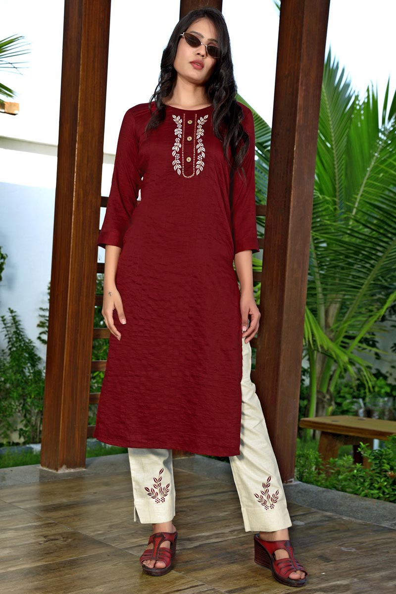 Art Silk Fabric Festive Wear Fancy Maroon Color Embroidered Kurti With Pant