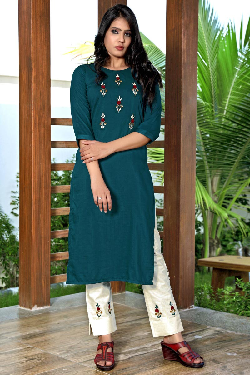 Teal Color Festive Wear Art Silk Fabric Fancy Embroidered Kurti With Pant