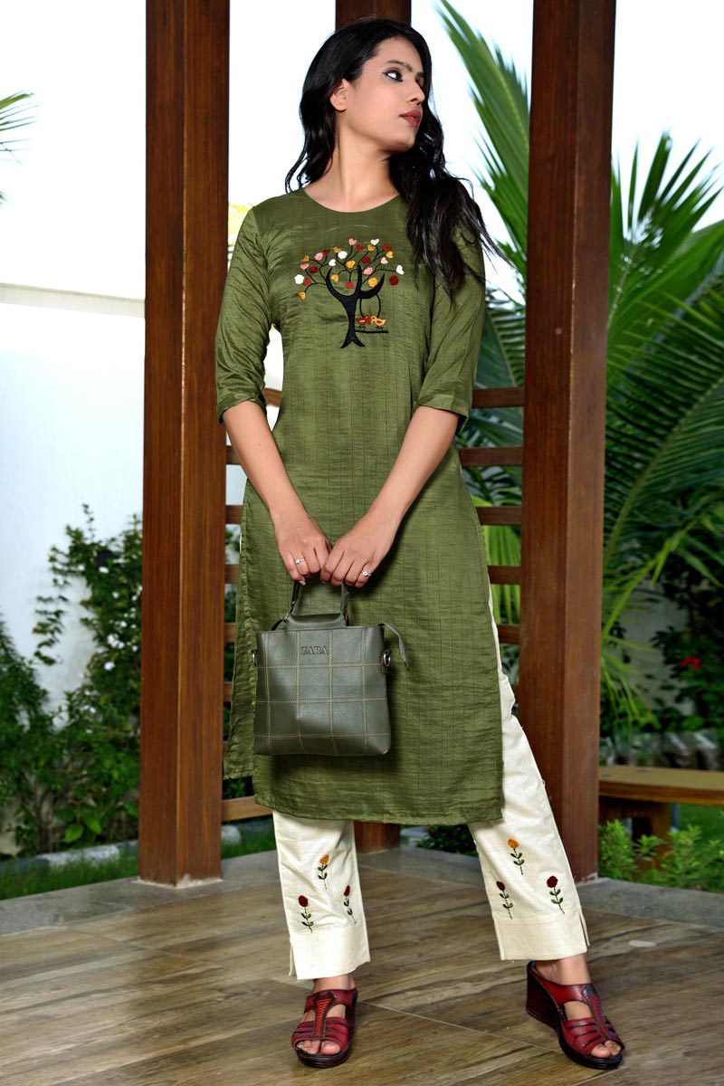 Fancy Festive Wear Mehendi Green Color Art Silk Fabric Embroidered Kurti With Pant