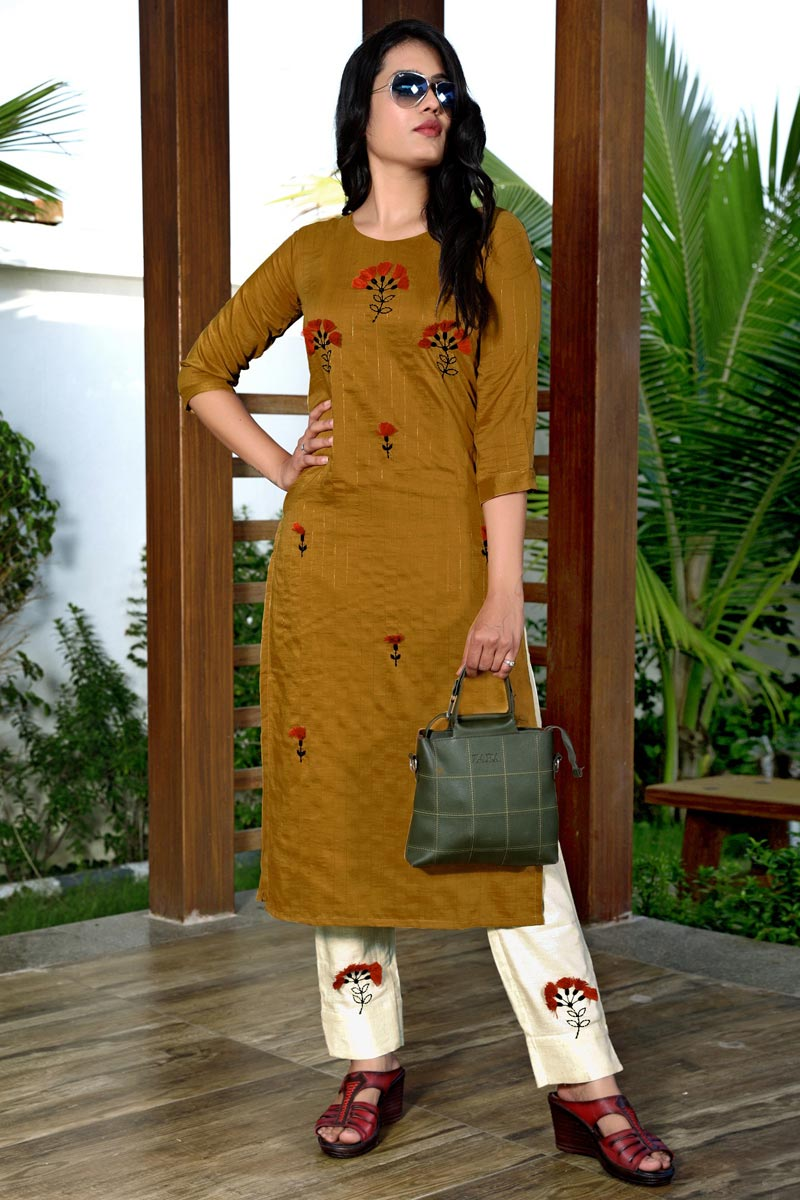 Festive Wear Fancy Mustard Color Embroidered Kurti With Pant In Art Silk Fabric