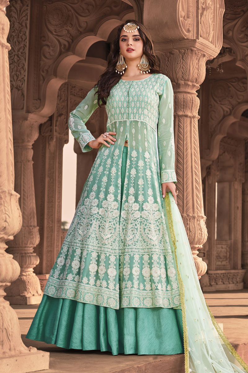 Sea Green Color Designer Embroidered Readymade Anarkali Salwar Kameez