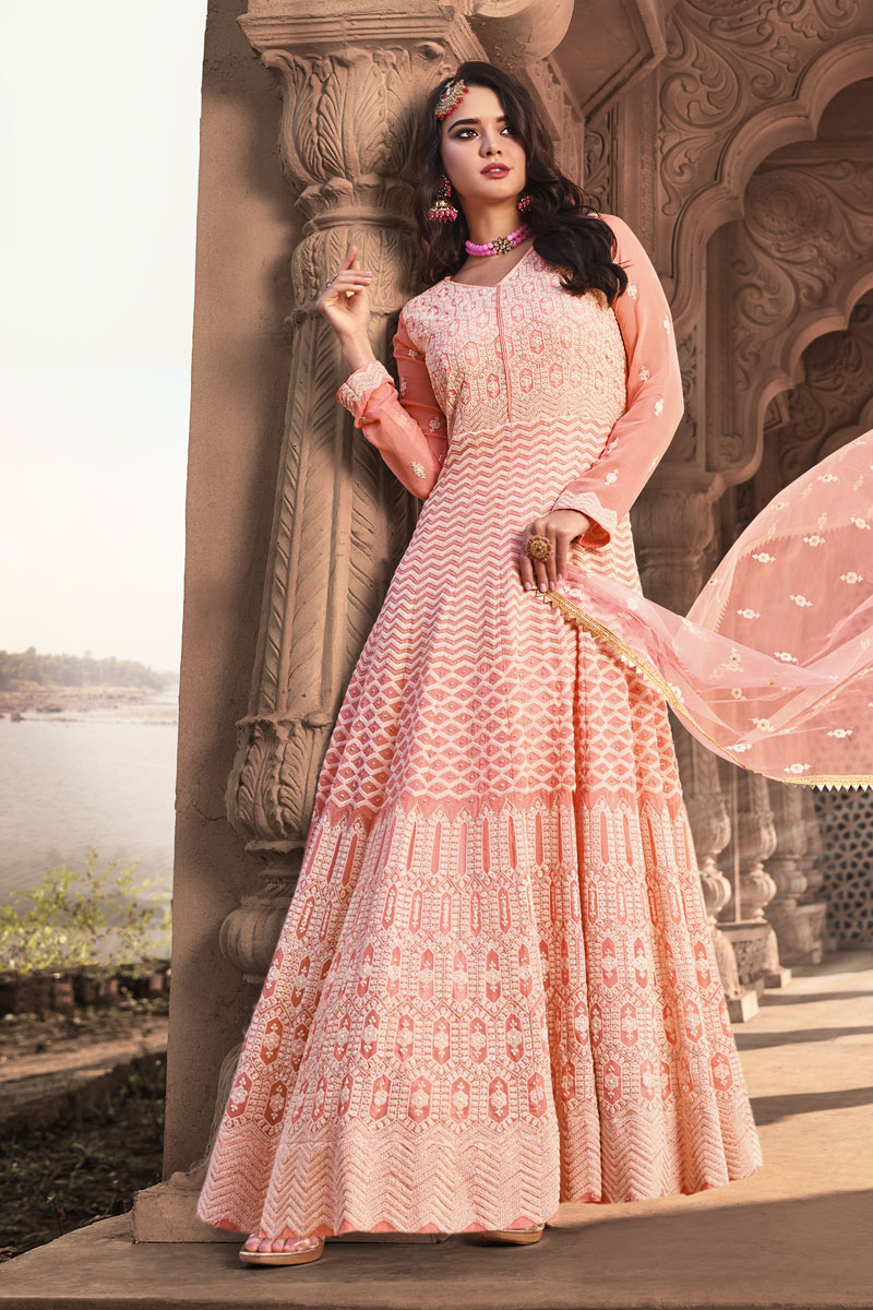 Viscose And Georgette Fabric Party Wear Readymade Anarkali Salwar Suit