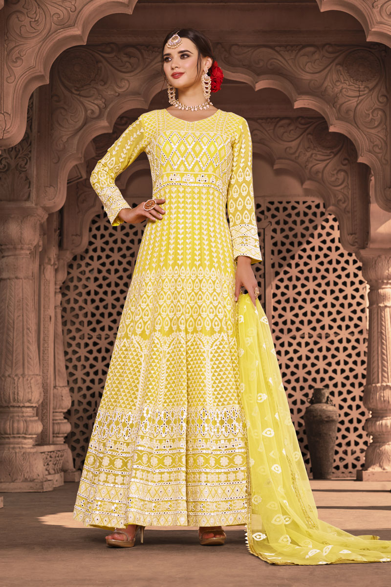 Yellow Color Viscose And Georgette Fabric Function Wear Embroidered Readymade Anarkali Suit