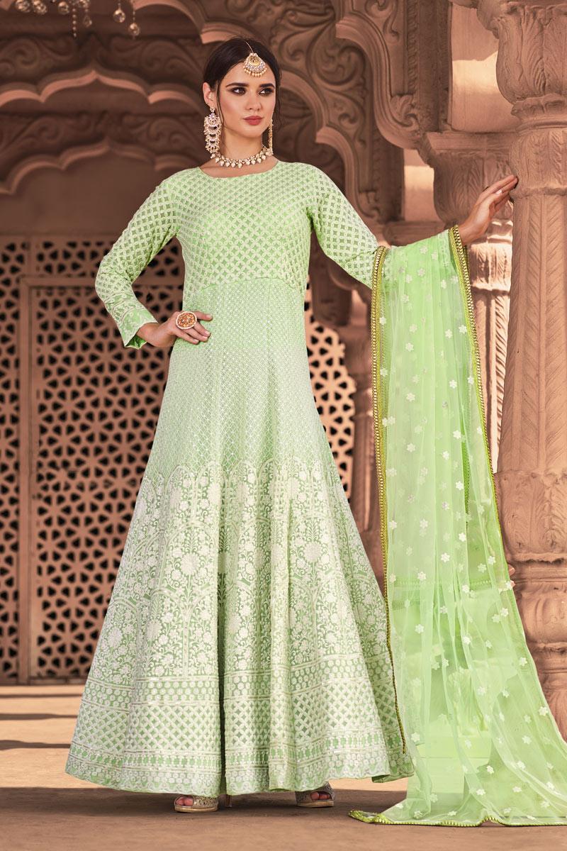 Festive Special Occasion Wear Green Color Embroidered Readymade Anarkali Salwar Kameez
