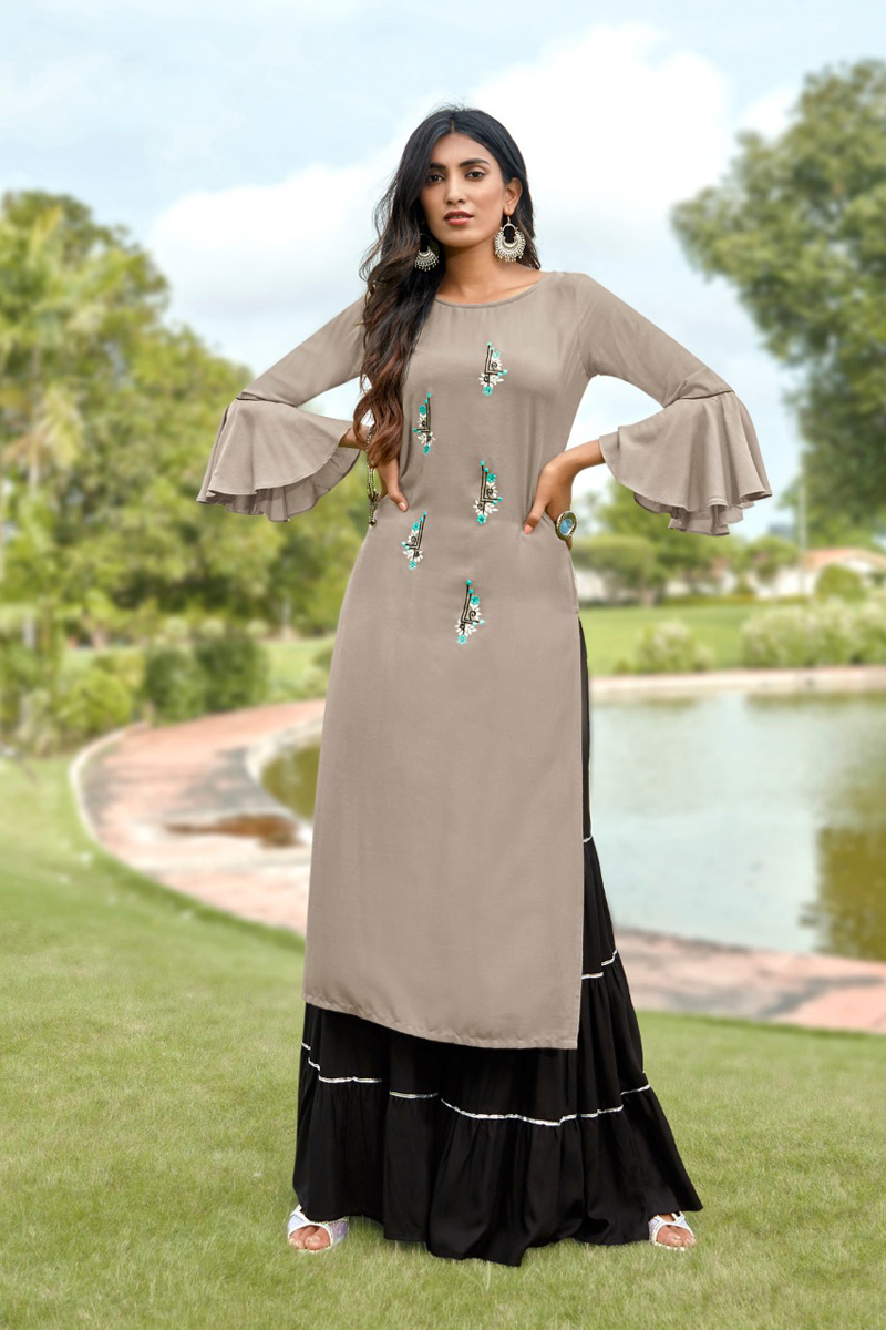 Occasion Wear Grey Color Embroidered Sharara Palazzo