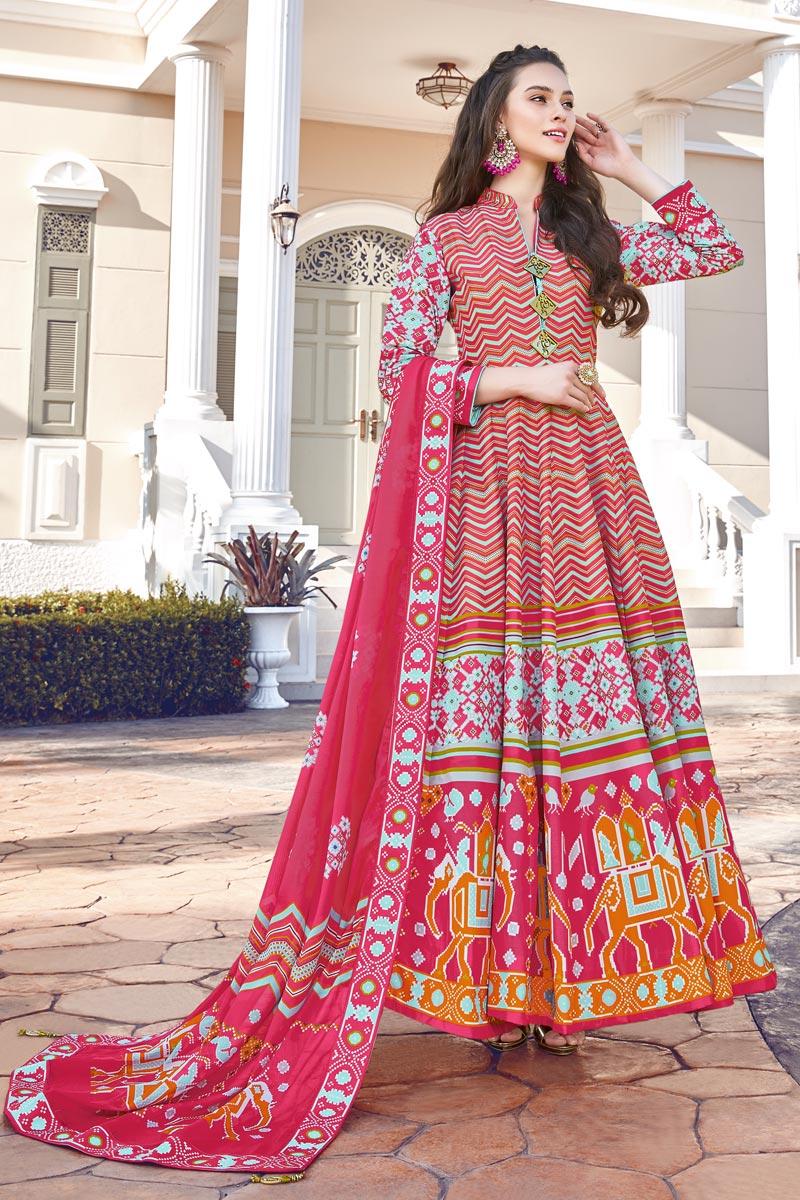 Art Silk Fabric Party Wear Readymade Anarkali Salwar Suit
